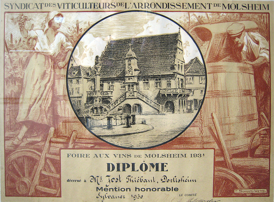 Dipôme décerné à Thiébaut Jost en 1931